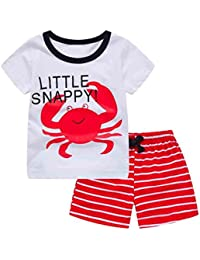 Little Snappy, Toddler Kids Baby Girls Boys Cartoon Tops T-Shirt +Striped Shorts Outfits Set