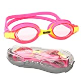 Vangogo Swim Goggles, No Leaking Anti Fog Clear Vision Swim Glasses with Adjustable Fitting Strap & Free Protection Case for Aged 4-12 Youth Kids Child