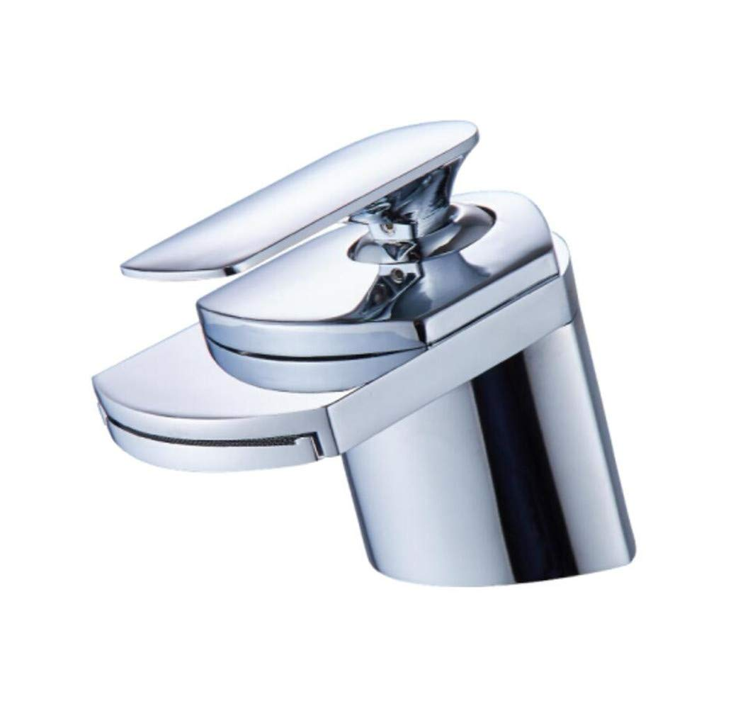 A Mucert All Copper Hot and Cold Basin Faucet, Single Hole Toilet Washbasin, Waterfall Faucet,C