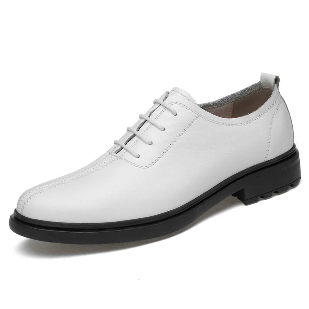 Havanadd Lederschuhe für Männer Mode Oxford Bequeme weiche Herren Schnürschuhe Business Oxford Schuhe (Farbe   Weiß, Größe   37 EU)