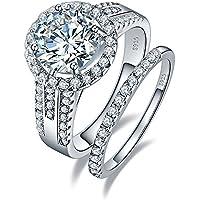 BONLAVIE 3.45ct 925 Sterling Silver Cubic Zirconia Halo Anniversary Wedding Band Engagement Ring Bridal Set