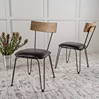 Christopher Knight Home 299548 Orval Metal Chairs Cushions (Set of 2), Black/Brown