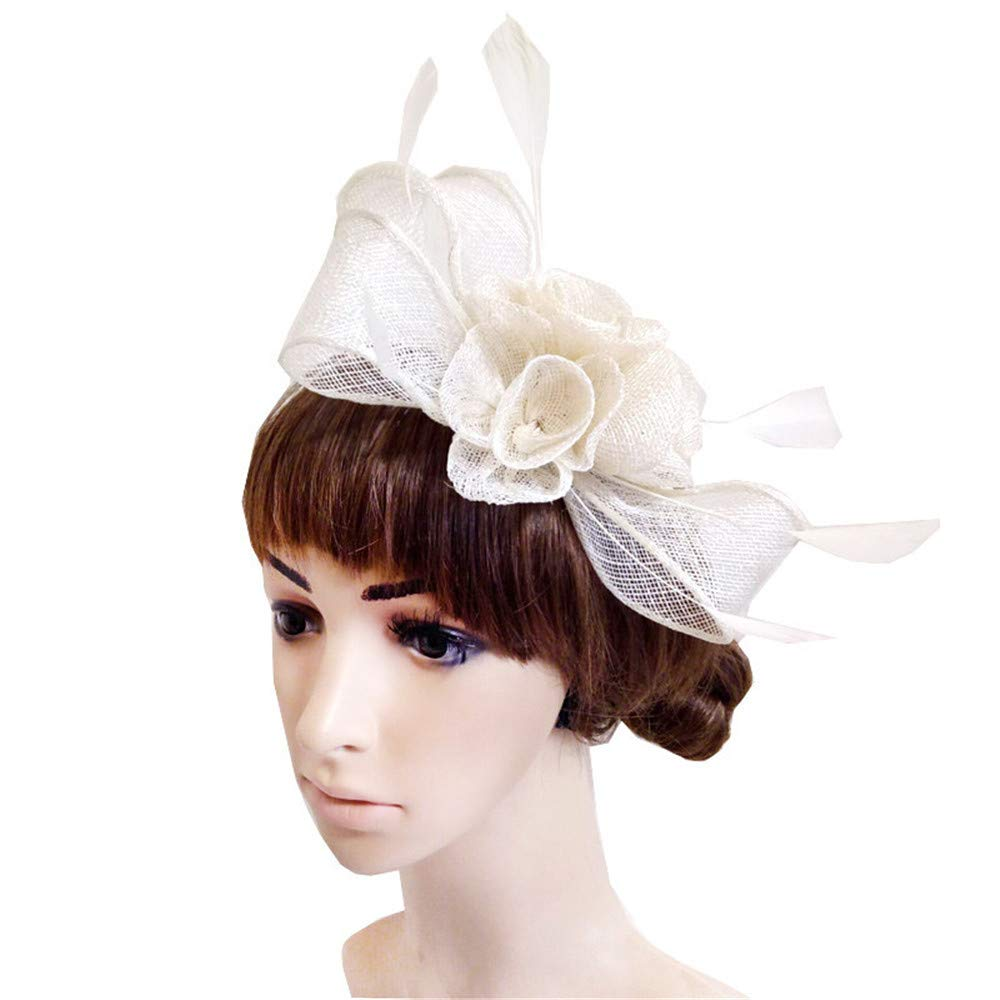Women's Elegant Fascinator Hat Bridal Flower Feathers Wedding Hair Clip Accessaries Halloween Royal Ascot Derby Hats