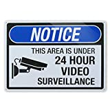 24 Hour Video Surveillance Sign Blue,Big Metal Security Camera Sign Blue, 10x14 Inch Rust Free 30-mil Aluminum,UV Ink Printing,Indoor or Outdoor Use for Home Business CCTV Security Camera