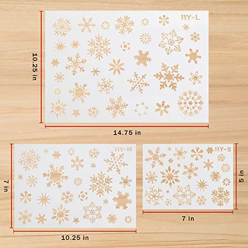 Koogel 7PCS Christmas Stencils, Including 3PCS Winter Stencils and 4PCS Holiday Stencils, Plastic Stencil Template for Planner Diary Card DIY Drawing Painting Craft Projects