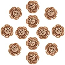 DECORA 12 Pieces Handmade Burlap Rose Flowers for Wedding Decoration DIY Craft Making