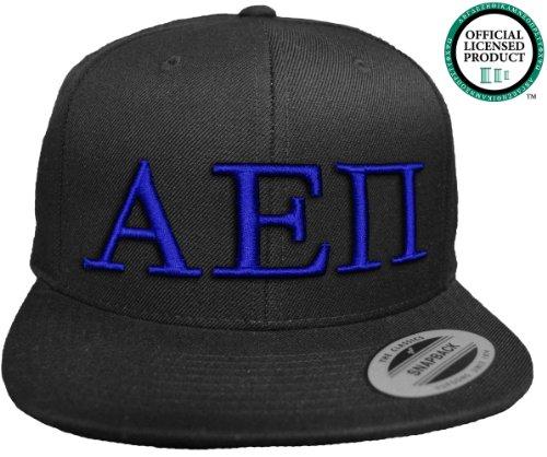 ALPHA EPSILON PI Flat Brim Snapback Hat Royal Letters / A E Pi | Fraternity Cap