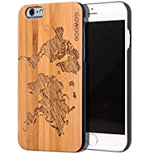 iPhone 6 Case - Wood - Real Natural Bamboo Wooden Backplate With Unique World Map Design and Shock Absorbing Polycarbonate Protective Bumper