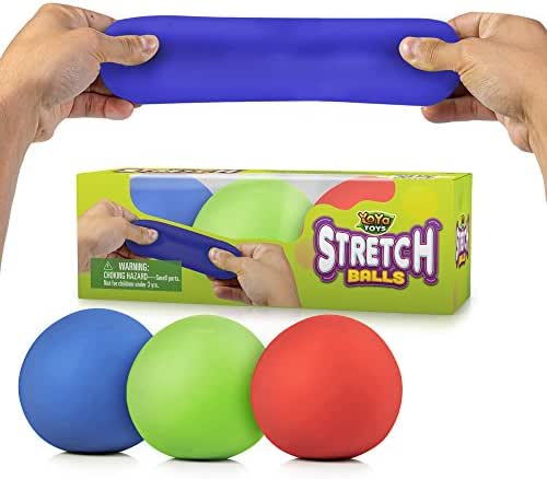 YoYa Toys Pull, Stretch and Squeeze Stress Balls 3 Pack - Elastic Construction Sensory Balls - Ideal for Stress and Anxiety Relief, Special Needs, Autism, Disorders and More