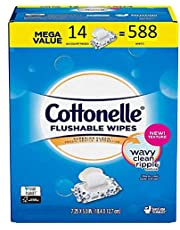 Cottonelle Flushable Wipes | Mega Value Pack of 588 Ct. (14 x 42 Count Resealable Soft Packs) Freshcare Flushable Wipes for Adults | Unscented Wet Wipes Flushable