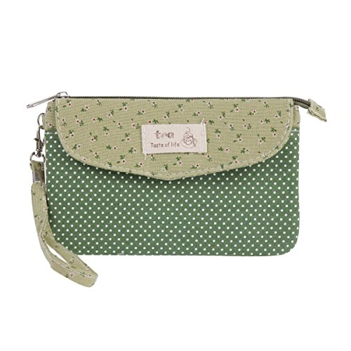 Damara Womens Magnetic Flap Coins Purse Zipper Credit Cards Wallet,Green