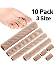 ABEY 10 Pieces Toe Cushion Tube 3 Different Size Toe Tubes Sleeves 6 Inches Long Soft Gel Corn Pad Protectors for Cushions Corns, Blisters, Calluses, Toes and Fingers (Uncut-1*L 3*M 1*S)