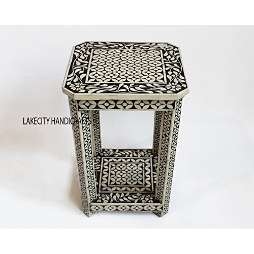 Bone inlay Bedside Table in Black color