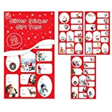 75 x Christmas Xmas Red Glitter Or Foil Silver & Gold Sticker Gift Tags