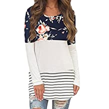 Alixyz Women's Tunic Tops Printed Stripe Color Long Sleeve T-Shirts Stitching Blouses