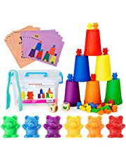 Neoformers Counting Bears with Matching and Sorting Cups, Preschool Math Learning and Color Recognition Games, STEM Educational Toy for Toddlers, Bonus 1 Tweezers, 2 Dices and 10 Activity Cards