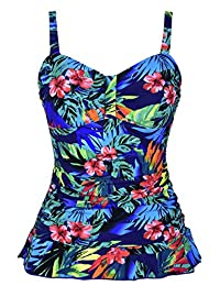 Hilor Women's 50's Retro Ruched Tankini Swimsuit Top Ruffle Hem