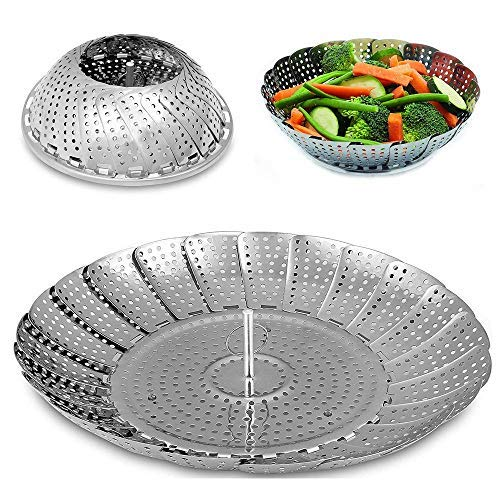 BangShou Panier Vapeur Pliable Cuiseur Cuit Vapeur en Acier Inoxydable Accessoire de Cuisine pour Cuisson de Légumes (9'')