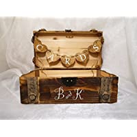 Personalized Vintage Wooden Card Box, Rustic Vintage Look Card Box, Wedding Card Box, Cedar Lined Card Box, Card Box, Wedding Card Trunk