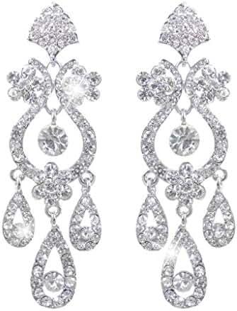 EVER FAITH Bridal Flower Vase Chandelier Earrings Austrian Crystal