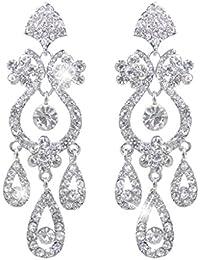Bridal Flower Vase Chandelier Dangle Earrings Austrian Crystal