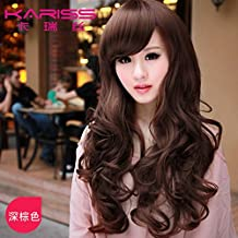 New Sale whole wig women girls female long hair fluffy fashion realistic natural oblique bangs big wave in long round face
