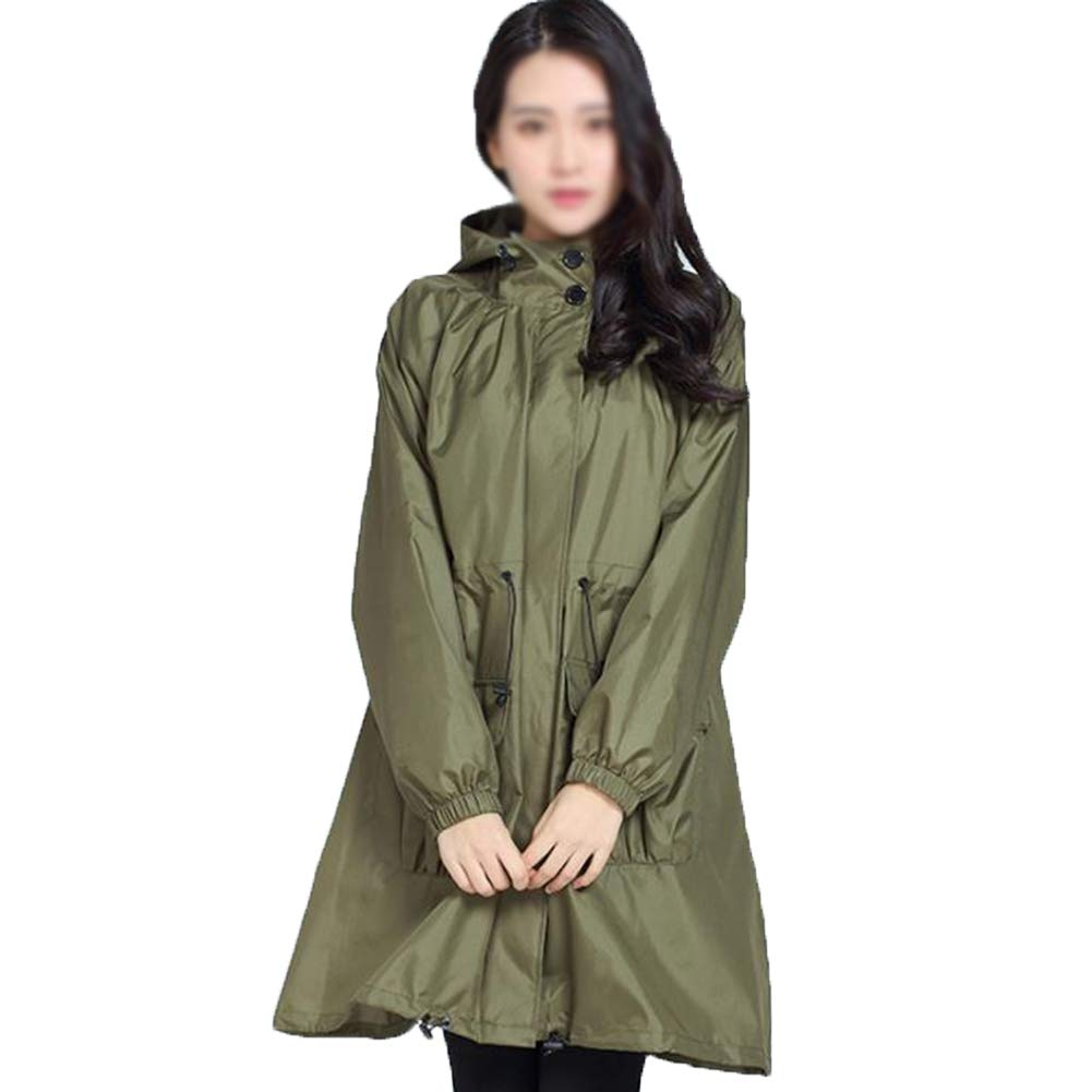 Green Rainjacket for Women,Waterproof Hooded Coat Lightweight Reusable Hiking Rain Coat Wear,Travel, Business Trip, Rainy Day Trip,Green