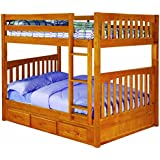 Discovery World Furniture Full over Full Bunk Bed with 3 Drawer Storage, Honey