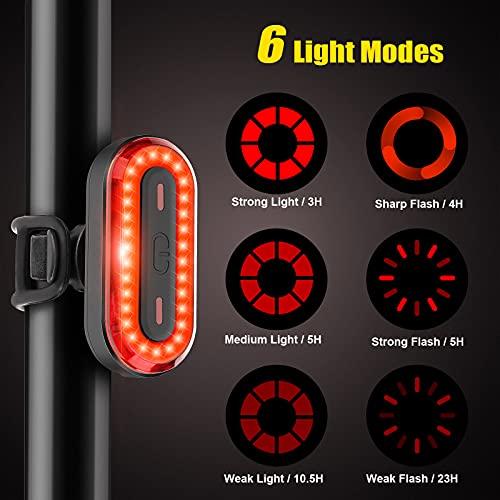 Luce Posteriore Bici Luci Bicicletta LED Luci Bici Ricaricabili USB - Fanalini Posteriori per Bicicletta Impermeabile Super Luminosi con 6 Modalità Flash - Fanale Posteriore per Bici Strada e Montagna