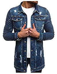 LifeHe 2018 Men's Vintage Regular Fit Long Distressed Denim Jean Jacket Trench Coat