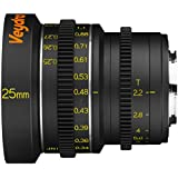 Veydra V1-25T22M43M Mini Prime 25mm T2.2 Metric Cinema Lens with Manual Focus, Black