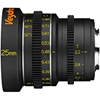 Veydra V1-25T22CMOUNTM Mini Prime 25mm T2.2 C-Mount Metric Cinema Lens with Manual Focus, Black
