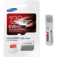 Samsung Evo Plus 128GB MicroSD XC Class 10 UHS-1 Mobile Memory Card for Samsung Galaxy J3 J1 Nxt Ace A9 A7 A5 A3 Tab A 7.0 E 8.0 View On7 On5 Z3 with MemoryMarket MicroSD & SD Memory Card Reader
