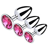 Naughty Cat 3pcs Different Size Set Stainless Steel Diamond Jeweled Toys Massag-er