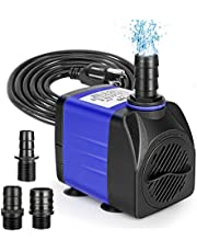 Jhua 300GPH Submersible Fountain Pump, 21W Submersible Water Pump, Anti Dry Burning, Ultra Quiet Fountain Pumps Submersible Outdoor, 5.9ft Power Cord, 3 Nozzles for Aquarium, Tank, Pond, Hydroponics
