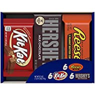 HERSHEY'S Chocolate Candy Bar Assorted Variety Box (HERSHEY'S Milk Chocolate, KIT KAT, REESE'S Cups), Full Size Bars, 18 Count Gift Box