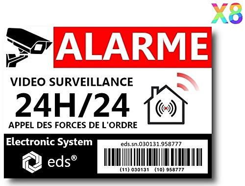 Lot de 8 Autocollants Dissuasifs « Alarme Vidéo Surveillance » Anti cambriolage pour Maison Immeuble Commerce Garage. Stickers Vidéo Surveillance de Qualité Professionnelle (Code Barre) product image