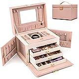 HEZALA Jewelry Box, Faux Leather Jewelry Organizer Travel Storage Display Case with Mirror for Girls Women - Pink
