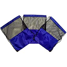 3 Pack Nylon Drawstring Backpacks Sackpack Tote Cinch Gym Bag - Variety of Colors! (Regular, Blue Mesh)