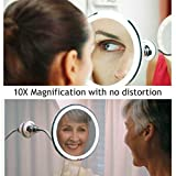 Glam hobby Led 10X Magnifying Makeup Mirror Lighted Vanity Bathroom Round Mirror with 360 Degree Swivel Rotation, Flexible Gooseneck, and Locking Suction