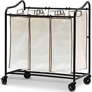 SimpleHouseware Heavy-Duty 3-Bag Laundry Sorter Rolling Cart, Bronze
