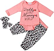 NEWLL Baby Girl Clothes Pink Cotton Long Sleeve Rose Flowers Bodysuits Romper for Newborn Pants Tops and Hat O