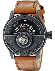 Joshua & Sons Mens JX116BKBR Compass Watch with Brown Strap