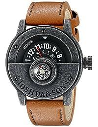 Joshua & Sons Men's JX116BKBR Round Black Dial Compass Quartz Strap Watch