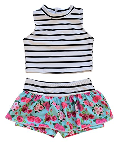 UNIQUEONE Baby Girls Two Piece Floral Tankini Swimsuit Beach Swimwear Size 2Years/L (White)