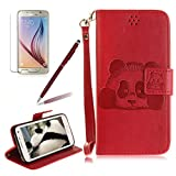 Girlyard For Samsung Galaxy S5 / Galaxy S5 Neo [Panda] Premium PU Leather Wallet Kickstand Flip Folio Stand Case Cover Built in Card Slots with Magnetic Closure & Wrist Strap, Red