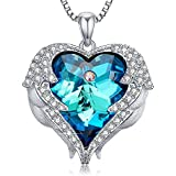 Angel Wings Pendant Love Heart Necklaces for Women Jewelry Gifts for Her on Anniversary, Holiday, Birthday Gifts for Women