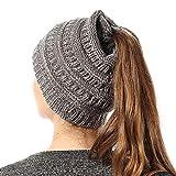 Women Knit Beanie Hat Stretch Messy High Ponytail Winter Skull Cap, Mix Dark Grey