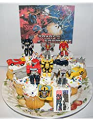 Transformers Deluxe Mini Cake Toppers Cupcake Decorations Set of 14 with 12 Figures and Vehicles, Special Tattoo and ToyRing Featuring Optimus, Bumblebee, Megatron and More!