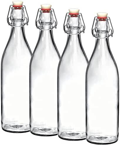 Bormioli Rocco Set of 4 Giara Clear Glass Bottle With Stopper, 33 3/4 oz